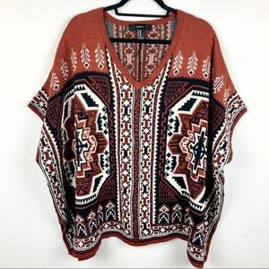 FOREVER 21 Aztec Print Poncho Sweater Women's M/L